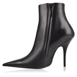 Wholesale black satin stiletto - Latest Women Pointed Toe Dress Shoes Ankle Boots Solid Stiletto High Heels Runway Boots Fashion Sexy Black Female Punk Shoes Winter Botas