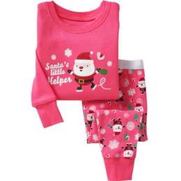 Wholesale Girls Christmas Pjs - Wholesale- 2015 Christmas Pyjamas Kids Clothes Baby Boys Girls Clothing Long Sleeve Costume Cotton Pajamas PJS Childrens Sleepwear Pijamas