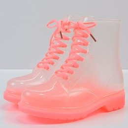 Wholesale Clear Rain Boots For Women - New Fashion Women Flat Transparent Clear Rubber Rain Boots Lace Up Ankle Boots Women Footwear Fashion Girls Boots For Female