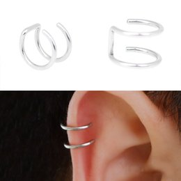 Wholesale Cuff Earrings Women - 1Pair Punk Men Women Ear Clip Cuff Wrap Earrings Cartilage Fashion Silver Plated Fake Clip-on Non Piercing Ear Stud Jewelry