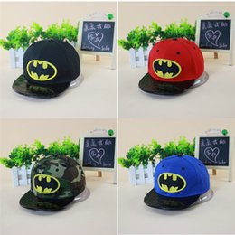 Wholesale Boys Batman Baseball Cap - Hot Selling Kids Hip Hop Hats Flat Edge Ball Caps Sports Bboy Snapback Baseball Caps Adjustable Fashion Batman Hats Cool Boys Girls
