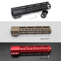 montaje de rifle Rebajas Negro / Tan / Rojo 10 '' pulgadas Slim Keymod Handguard Flotador libre Picatinny Rail Mount System Fit .223 / 5.56 Rifle AR-15 / M4 / M16