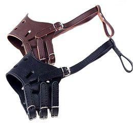 Wholesale Bit Dog Collar - Adjustable PU Leather Dog Muzzles anti bark bite training Obedience HeadCollars for small medium large dogs 6 sizes