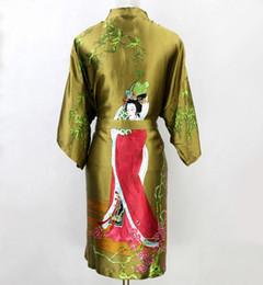 Bata de mujer kimono verde online-Venta al por mayor- Nueva venta caliente verde de las mujeres de seda Kimono Batas Vestido de noche desgaste YF7055