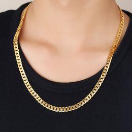 желтое золото 18 k ожерелье Скидка Роскошные мужчины ожерелье цепь 18k желтое золото покрытием 6 мм 18 дюймов-32 дюймов мода ожерелье цепь для мужчин для свадьбы