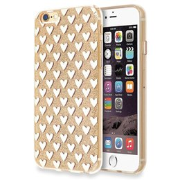 Wholesale Glitter Shapes - Glitter Heart Shape Pattern PC Cover TPU Frame Cell Phone Cases for iphone 6 plus Anti Scratch Electroplat Phone Cases for iphone 7
