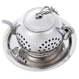 Wholesale Tray For Tea - Stainless Steel Teapot Shape Filter with Tray Chain Mesh Tea Infuser Reusable Strainer For Kettle Cup Tea Strainer