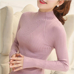 Wholesale Tight Long Sleeves Sweater - Wholesale-Fashion 2016 Spring Women long sleeve Turtleneck sweater ladies slim tight Bottoming Knitted Pullovers Casual women Blouses