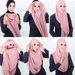 Wholesale Abaya Scarf - 30 Colors Women's Plain Cotton Hiajb Shawl Solid Color Elasticity Scarf Foulard Muslim Maxi Abaya Hijab Head Wrap Long Thick Sjaal 180*85Cm