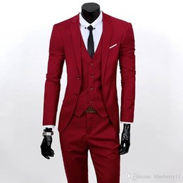 Wholesale Long Sleeve Vest For Groom - Men 3 Piece Suits Set Jacket+Pants+Vest Brand Costume Clothing Formal Dress Wedding Suit For Homme Groom Business Tuxedos free shipping