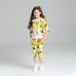 Wholesale Set Coat Pants Kids - Kids Girls Lemon Print Sets Baby Girl Coat+Short Sleeve T-Shirt+Casual Pants 3pcs Suits 2017 Summer Children Outfit Clothing S015