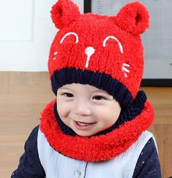 Wholesale Wholesale Winter Hats Gloves Scarfs - Baby Boys Girls Hats Splicing Scarf with cats Ears Brand Kids Winter Crochet Earflaps Caps Glove Solid Sets beanie hats free shipping