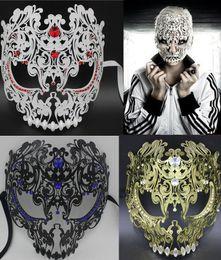 Wholesale Venetian Mask Costume Masquerade Red - Wholesale-Black Red Gold Silver Full Face Metal Filigree Halloween Skull Men Women Rhinestone Party Mask Venetian Costume Masquerade Mask