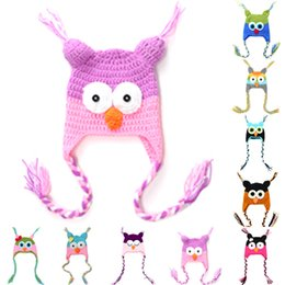 Wholesale Cartoon Crochet Infant Animal Hat - Cute Cartoon Infant Toddler Handmade Knitted Crochet Baby Owl Hat with Ear Flap Baby Soft Bonnet Photography Props Animal Caps