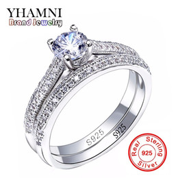 Wholesale Indian Bridal Wedding Jewelry Sets - SONA CZ Diamant Engagement Rings Set real 925 Sterling Silver Rings For Women Band Wedding Rings Promise Bridal Jewelry JZR131