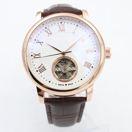 Wholesale Glass Watch Transparent - New Luxury Brand PP Sky Moon Mens Watch Automatic Movement Mechanical Tourbillion Transparent Glass Back Classic Leather Strap Men Watches