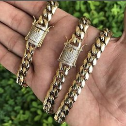 Wholesale Curb Chain Links - Cool Mens Chain 18k Gold Plated Tone Stainless Steel Necklace Curb Cuban Link Chain with Diamond Keylock Hip Hop Jewelry