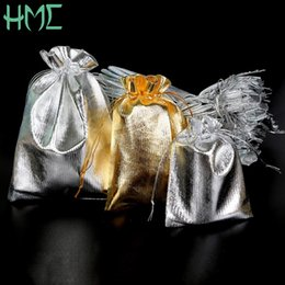 Wholesale 13x18cm Organza Bag - Wholesale 50pcs lot 7x9 9x12 10x15 13x18cm Metallic Gold Silver Color Drawable Organza Pouch Christmas Wedding Gift Jewelry Bag