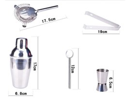 Wholesale Bar Sets Cocktail Shaker - 5Pcs set Stainless Steel Cocktail Shaker Mixer Drink Bartender Kit Bar Tools