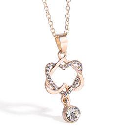 Wholesale Platinum Plated Couple Necklace - New fashion short couple couple heart twisted concentric with platinum-plated necklace heart pendant