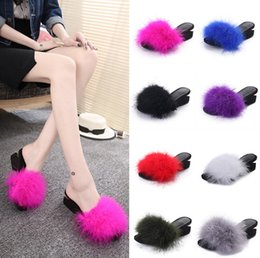 Wholesale Candy Colored Heels - Fashion Hot Selling New Style product artificial PU candy-colored ostrich slippers women shoes Charm Beauty - Free Shipping + Free Gift
