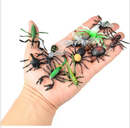 Wholesale Beetles Collection - Wholesale- 12pcs Children's Toys Gift Chameleon Centipede Spider Beetle Insect Scorpion Toy Animal Collection Models Action Figures