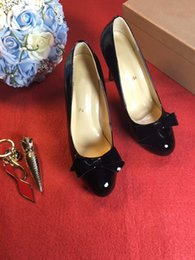 Wholesale Women Shoes Dress Bow - Luxury Brand Christian Red Bottom Heels Women 2017louboutin Luxury Brand Black Shoes Women Bow Tie Genuine Leather High Heels Dress Shoes