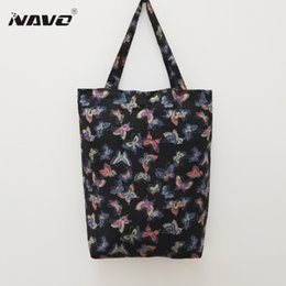 Wholesale Dragonfly Bags - Wholesale- NAVO high quality pongee fabric pocket shopping bag flower dragonfly butterfly print foldable grocery bag shopping bags
