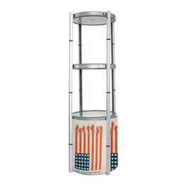 Estante de exposição on-line-Exibição de 4-Layer Rack de exibição com estrutura de alumínio de torção Transparente Lens Cover Top LED Light Easy Carry Bag