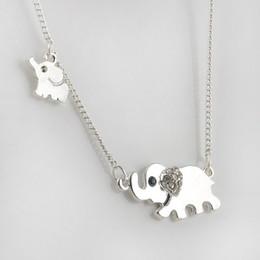 Wholesale Good Luck Elephant - Sparkling Good Luck Gold Double Elephant Stroll Design Pendant Necklace Punk Statement Necklace Women Jewelry P1203