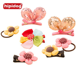 Wholesale Cat Hair Ribbon - Hipidog 1 Piece Cute Pet Grooming Clips Hand-made Ribbon Dog Cat Hair Bows Flowers Dots Sequin Printed Pet Hair Accessories Free Shipping