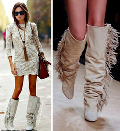 1cd173f0504c Fashions Tassel Boots Knee High Suede Fringe Botss Black White Gray Platform  Wedged Tall Boots New Brand Fashion Women Motorcycle Boots