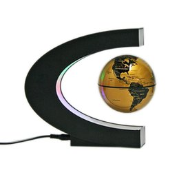 Wholesale Map Housing - C Shape Magnetic Levitation Floating World Map Globe Rotating with LED Lights for Learning Education Teaching Demo House and Office Desk Dec