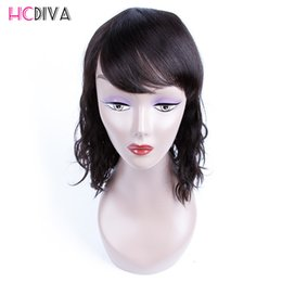 Wholesale Remy Hair Wigs Bangs - HCDIVA Human Hair Wigs For Black Woman Brazilian Hair Natural Wave with Bangs Non-Remy Hair Natural Color Machine Made For Black Women