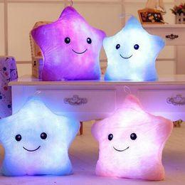 Wholesale Cotton Soft Toys - Wholesale- LED Star Luminous Kids Pillow 35cm Stuffed Soft Plush Glow Cushion Colorful Flashing Pillow Lovely Toys for girls
