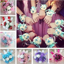 Wholesale Corsage Bracelets - Wedding Bouquets For Brides Flower girls Wrist Flowers Flower Brooch Hand Bouquet for bridesmaid Wedding Accessary Wrist Corsage 7cm