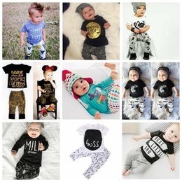 Wholesale Wholesale Boys Fashion Suits - Baby Clothes Kids Ins T Shirts Pants Boys Summer Tops Shorts Girls Letter Print Shirts Trousers Fashion Animal Suits Casual Outfits B2280