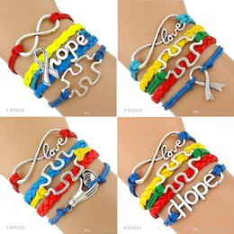 Wholesale Wholesale Autism Awareness Charm Bracelets - (10 PCS Lot) Autism Speaks puzzle Breast Cancer Awareness Bracelet Infinity Love Ribbon Hope charm Bracelet Leather Custom