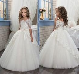 Wholesale T Length Puffy Dress - 2018 Princess Ivory Little Flower Girl Wedding Dresses With Sheer Half Sleeves Scoop Neck Puffy Tulle First Communion Dresses