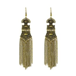 Wholesale 14k Vintage Earrings - Vintage Style Antique Gold Color Silver Color Geometric Long Chain Tassel Drop Earrings For Women