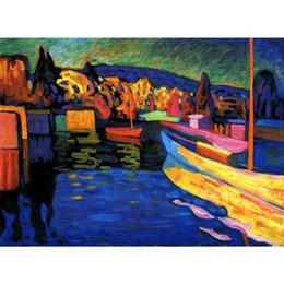 landschaftsmalerei boote Rabatt Handgemalte abstrakte Gemälde Wassily Kandinsky Herbstlandschaft mit Booten Kunst Öl Leinwand Hochwertige Wohnkultur