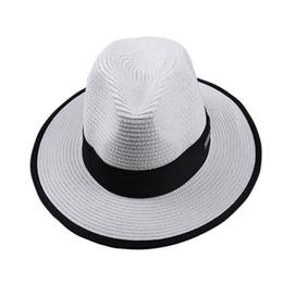 Wholesale Strawhat Fedoras - Wholesale- 2017 hot All-match flat brim wide brim women's strawhat women's jazz fedoras hat sun-shading hat beach cap