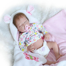 Wholesale Full Dolls - 22 Lifelike Baby Doll Girl Full Body Soft Silicone Lovely Infant Reborn Realistic Newborn Alive Baby Toy
