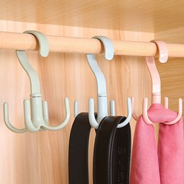 Wholesale Use Tie - Creative 360 degrees Can be rotated Debris 4 claws Multi-use hook tie scarf Coat racks plastic Sun drying rack