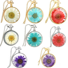 Wholesale Round Cage Necklace - 2017 NEW Crystal Glass Dried Round Locket Necklace Aromatherapy Essential Oil Diffuser Locket Silver Gold Plated Cage Chains Pendant Jewelry