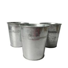 Wholesale Galvanized Metal Buckets Wholesale - D10.5XH11CM round metal garden bucket iron Meat plant planter pots pure silvery color Succulent planter