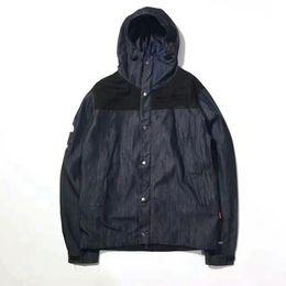 Wholesale Men Mountain Jacket - 17FW T X S Denim Mountain Jacket Fashion Men Brand Join Cowboy Hooded Jacket Sports High Quality Outerwear HFJK037