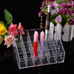Wholesale Lipstick Display Racks - 2016 Hot Sale 24pcs Trapezoid Clear Makeup Display Shelf Cosmetic Organizer Case Lipstick Rack Display Clear Acrylic