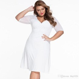 Wholesale Ladies Knee Length Shorts - 2017 Summer Bodycon Solid Short Sleeve Ladies Dresses Sexy V-neck Causal Plus Size Dresses For Women Free Shipping