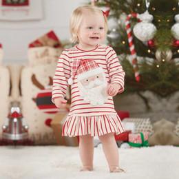 1-6 años de edad, niños, vestidos, diseños, 2017, Navidad, niños, niña, invierno, vestido a rayas rojo, reno, vestidos de impresión para Feliz Año Nuevo desde fabricantes